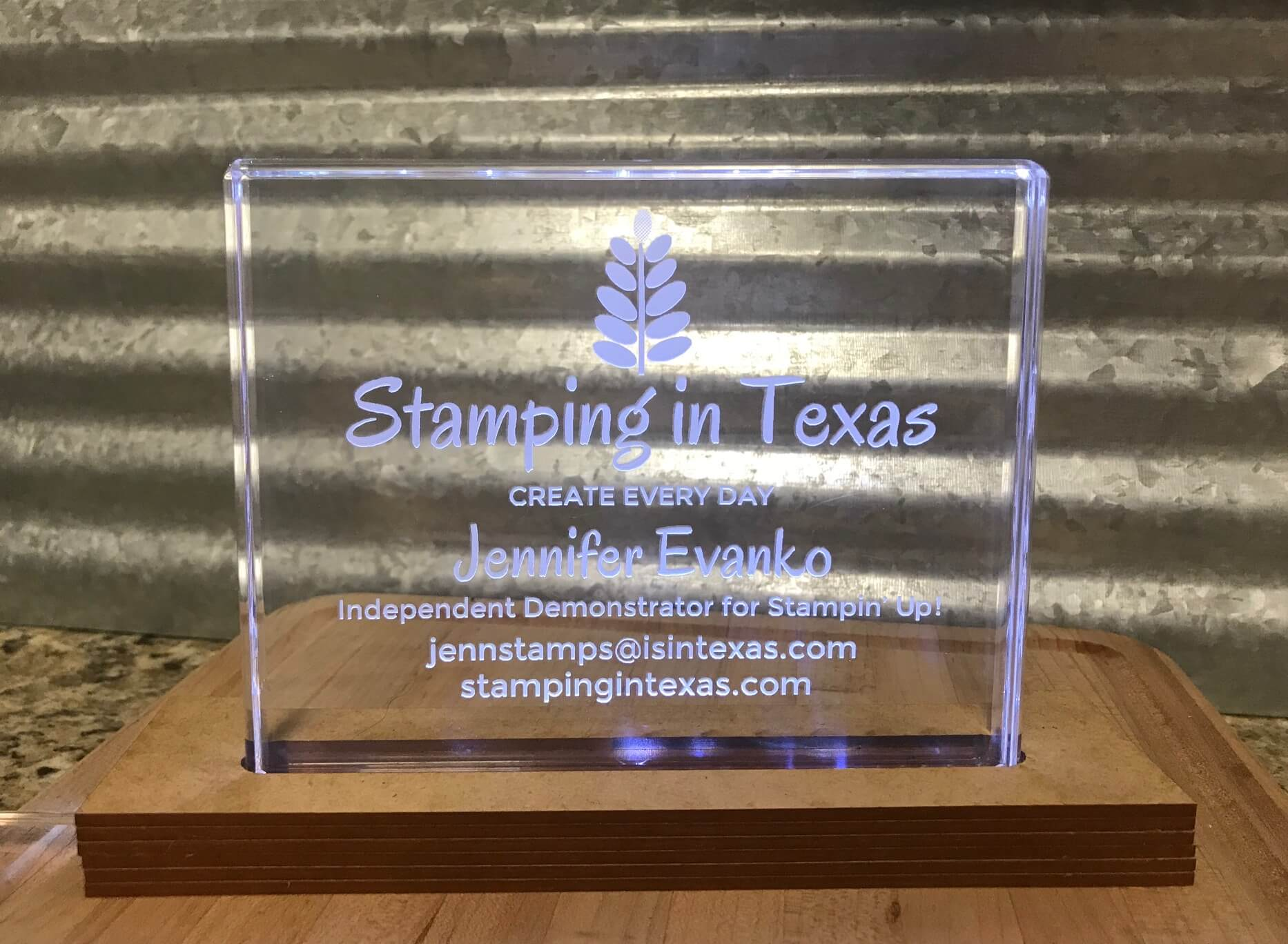 Stamping in Texas Lighted Engraved Acrylic Block