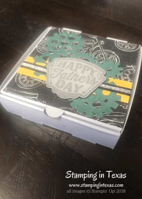 Mini Pizza Box make and take using the Stampin' Up! Geared Up Garage Stamp Set. Stampin' Up! Onstage 2018