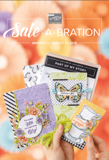 2019 Sale-a-Bration brochure cover.  Items available January 3-March 31, 2019.