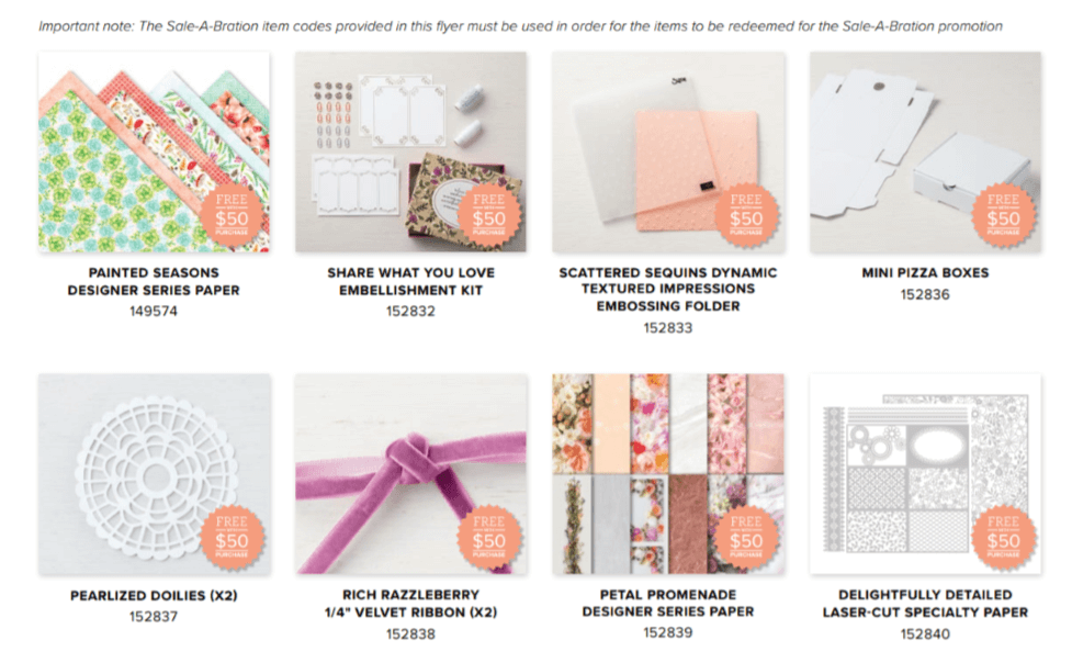 2019 Sale-a-Bration Third Release items. Choose an item for free with a $50 purchase until March 31, 2019.